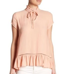Ro & De Blush Tie Neck Ruffle Hem Blouse